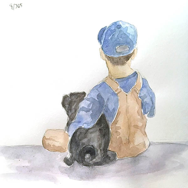 A boy and his pug. This reminds me of my son and our dog, Pudgy.