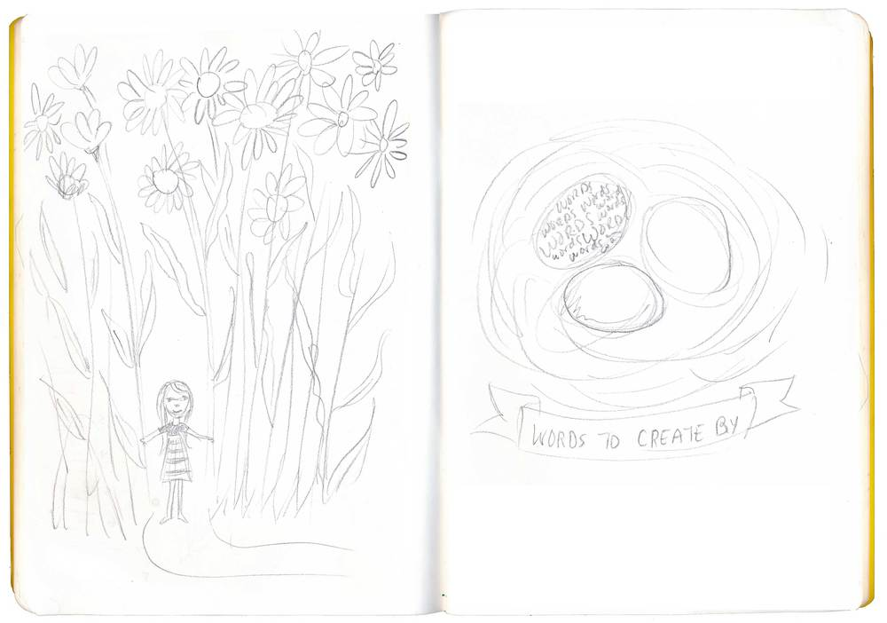 Little girl in a forest of giant flowers and, on the right, this sketch was actually an older sketch but I thought maybe I'd try to make it work for this assignment.
