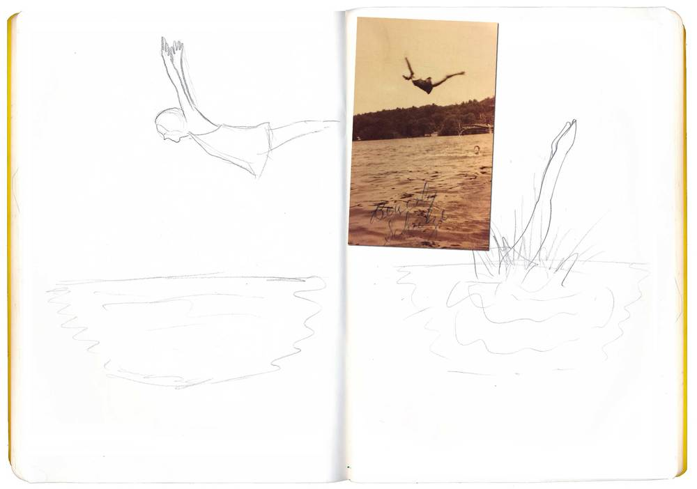 And then a swan dive idea. The picture that inspired me was this one of my grandma doing a swan dive in 1940. One of my favorite pictures. :)