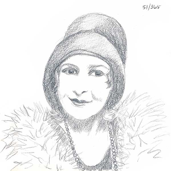 Drawing of my great grandmother. What a cute flapper she was!