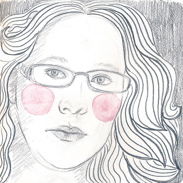 59/365 – Self-portrait, pencil and watercolor