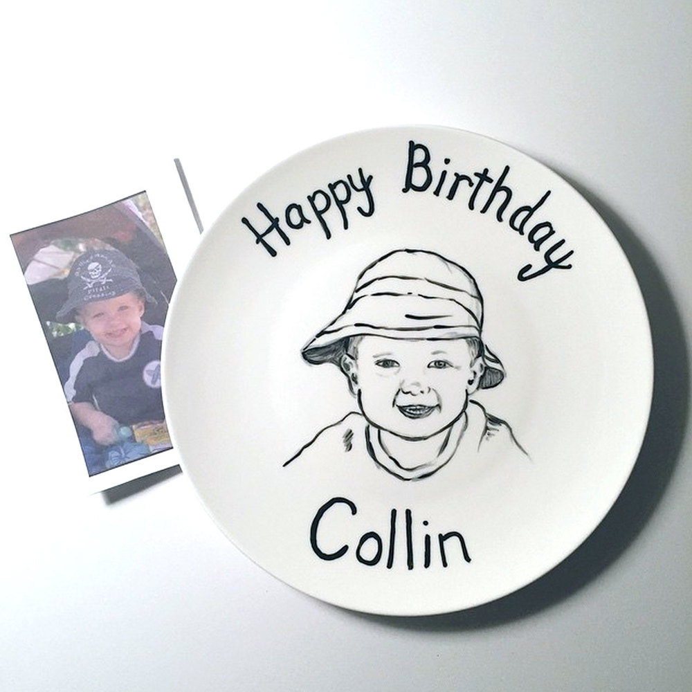155/365 – Painting on a ceramic plate. This was a special request from my cousin for her son, Collin.