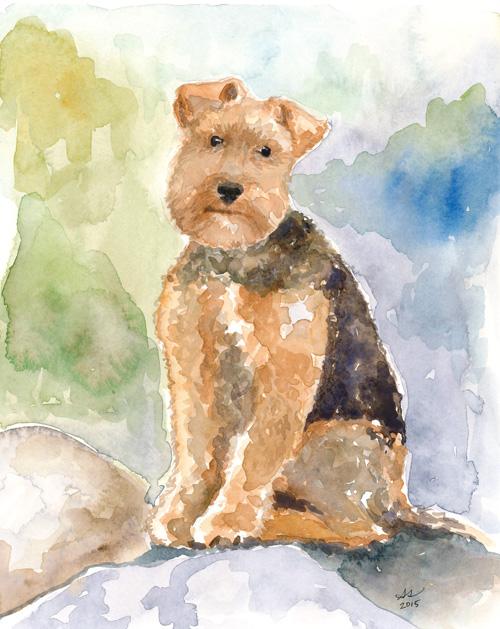 """Skylar the dog in watercolor, 8""""x10"""""""