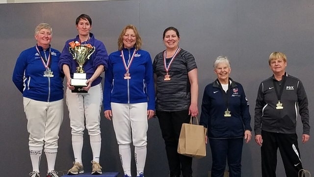 Kelly Dewsnup, second from left, won Gold at the Seattle International Veteran's Cup