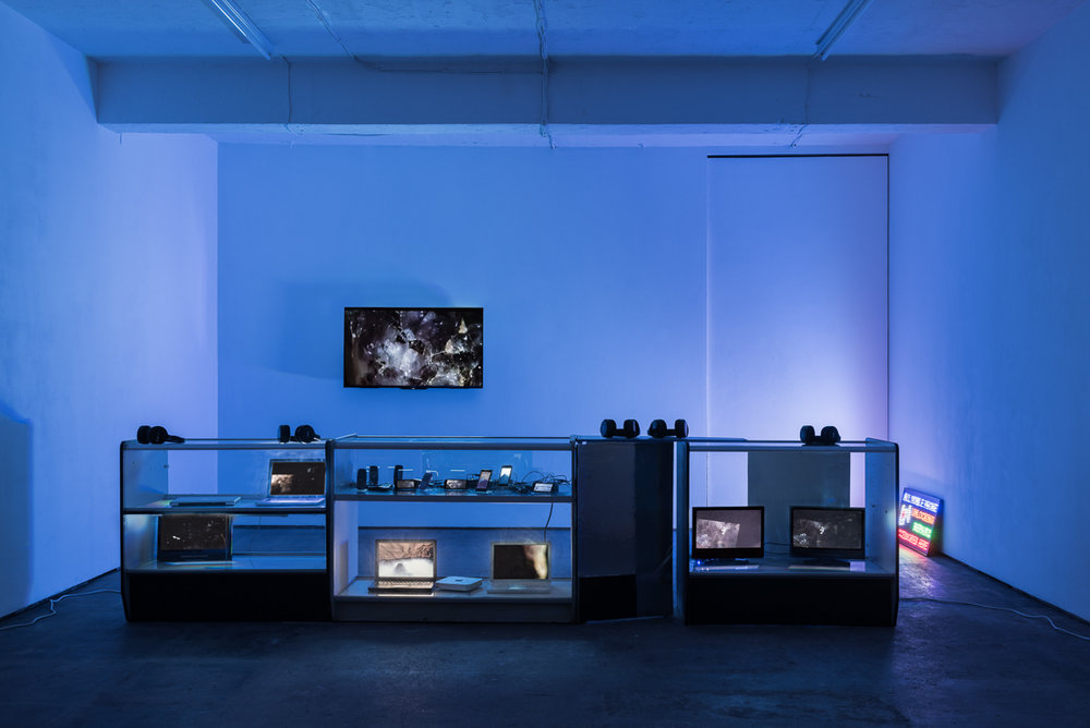 Installation view at Seventeem Gallery, London  HD Lifestyle , 2017, David Blandy Image credit: Damian Griffiths