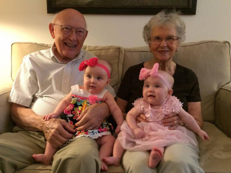 Dad & Mom w/ Great Grandchildren - Organized By Choice