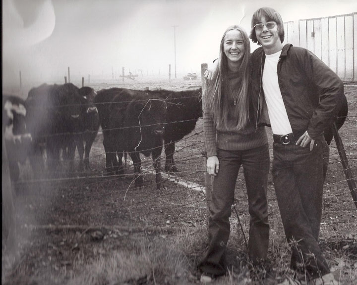 My husband and me on a country-drive date in the 70s.