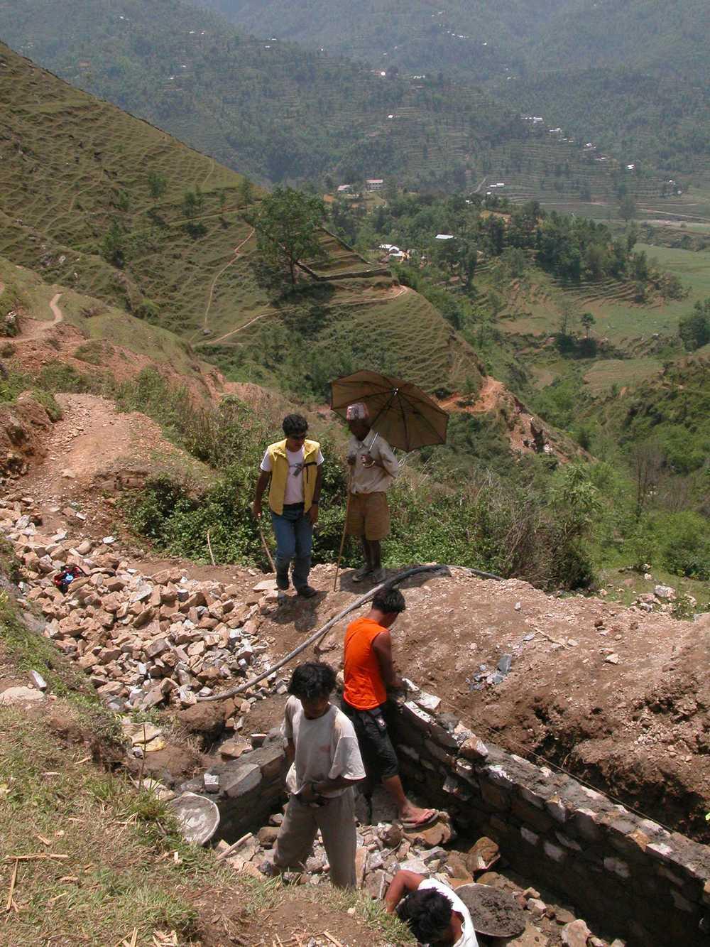Slow sand filter construction, Parbat District Nepal