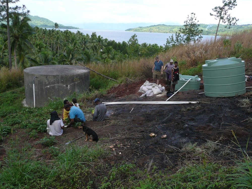 Construction of slow sand filter in Buca Bay, Fiji to reduce water-born disease.