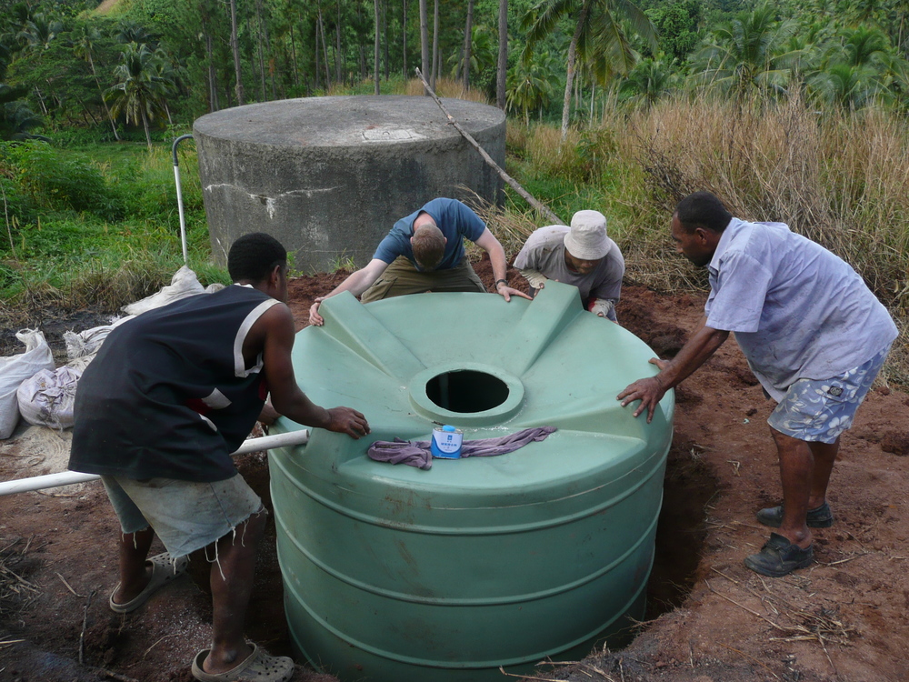 Getting equipment in place for Buca Bay, Fiji slow sand filter project.
