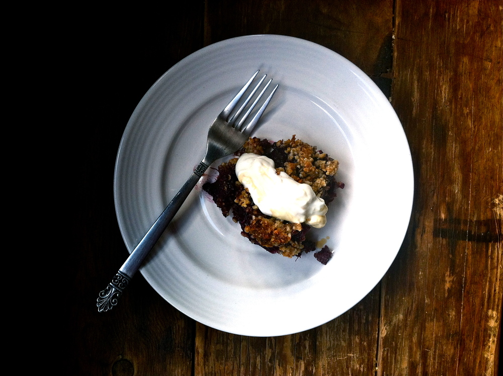 Blackberry rhubarb crumble with date, almond, oat streusel + goats milk yogurt