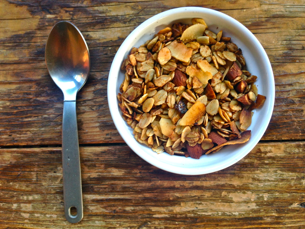 Coconut Honey Granola with toasted coconut chips, almonds and sunflower seeds