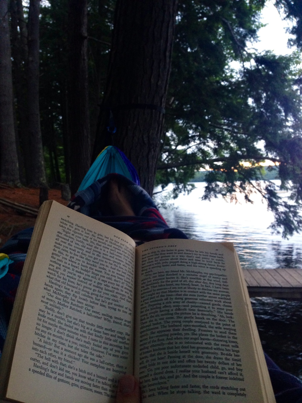 Some lakeside reading in my hammock-Belgrade Lakes, Maine