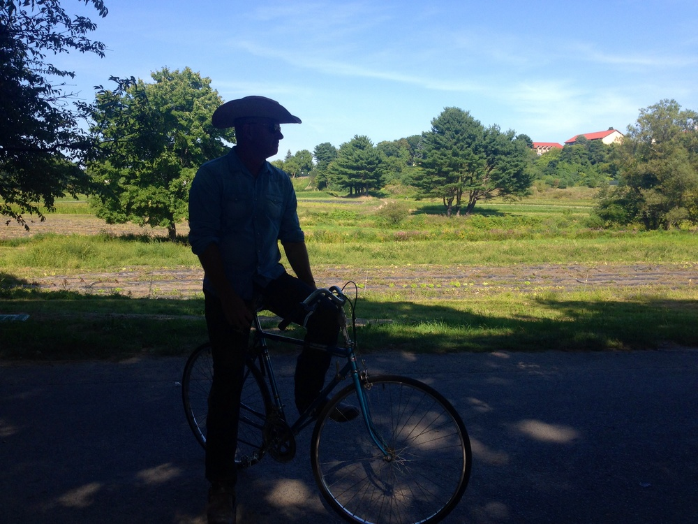 An alien and my bike-Annandale Farm Boston Massachusetts