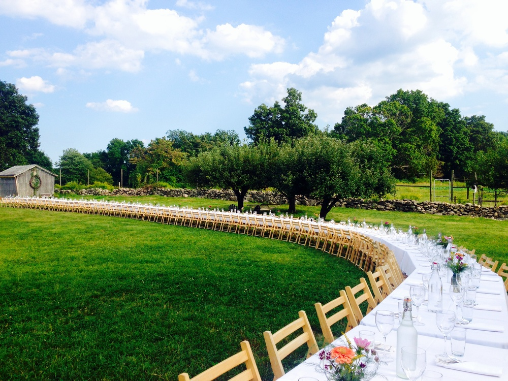 The Table set in the field of the Hickories Farm in Ridgefield, Connecticut