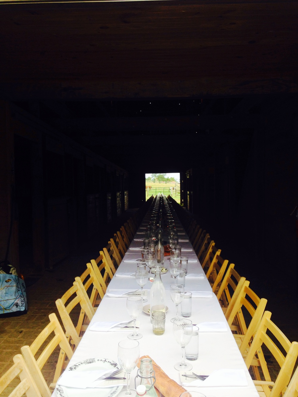 A Dinner in the horse barn at Woodland Farm