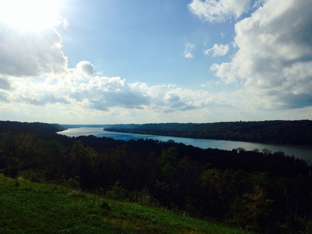 The Ohio River looking into Indiana at Woodland Farm in Kentucky