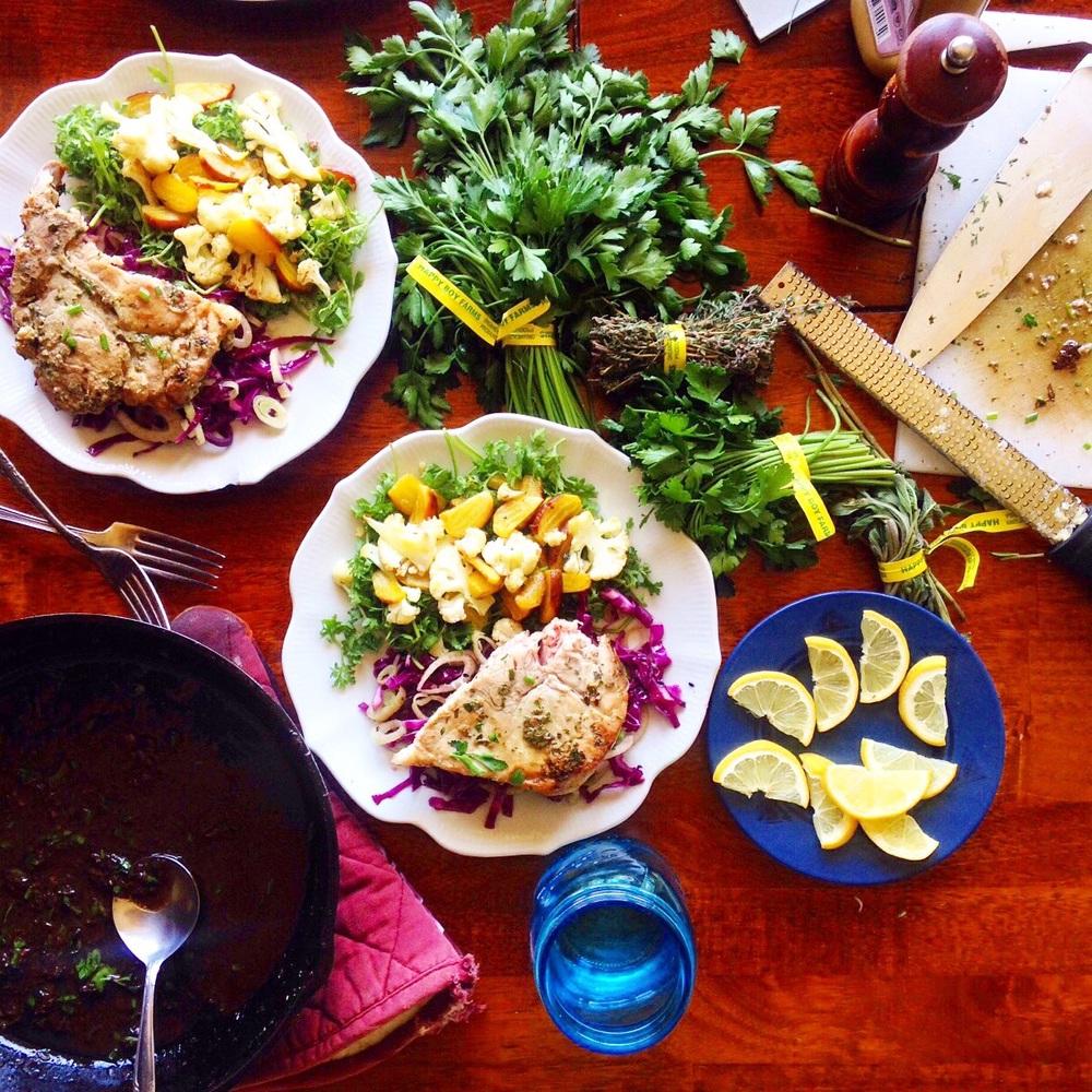 Brunch with Deanna. Herb Crusted Pork Chops with Mustard Jus + Fennel Slaw + Roasted Veggie Pepper Crest Salad