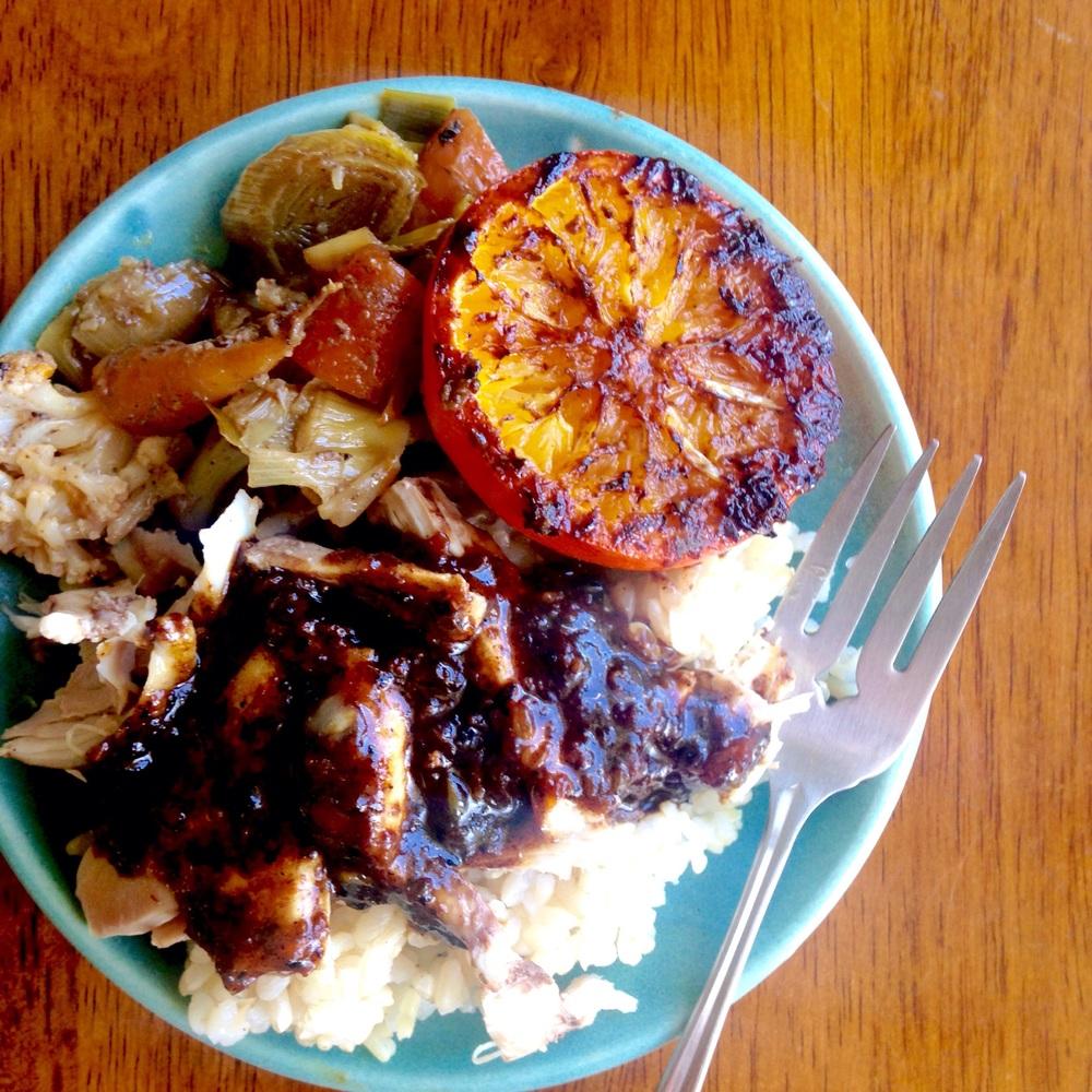 Slow Roasted Fogline Farms Chicken with Charred Orange + Braised Cauliflower, Leeks + Carrots