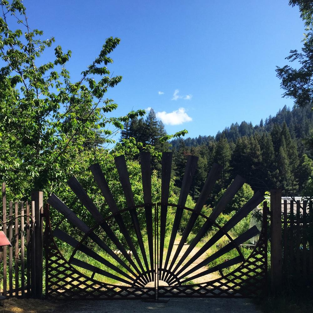 Front Gate at Camp Joy Gardens in Boulder Creek California
