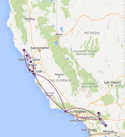 Miles Traveled in California to date appox. 2346 km/ 1457 miles