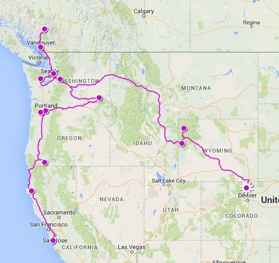 Northwest Tour Route 4267km/2651miles