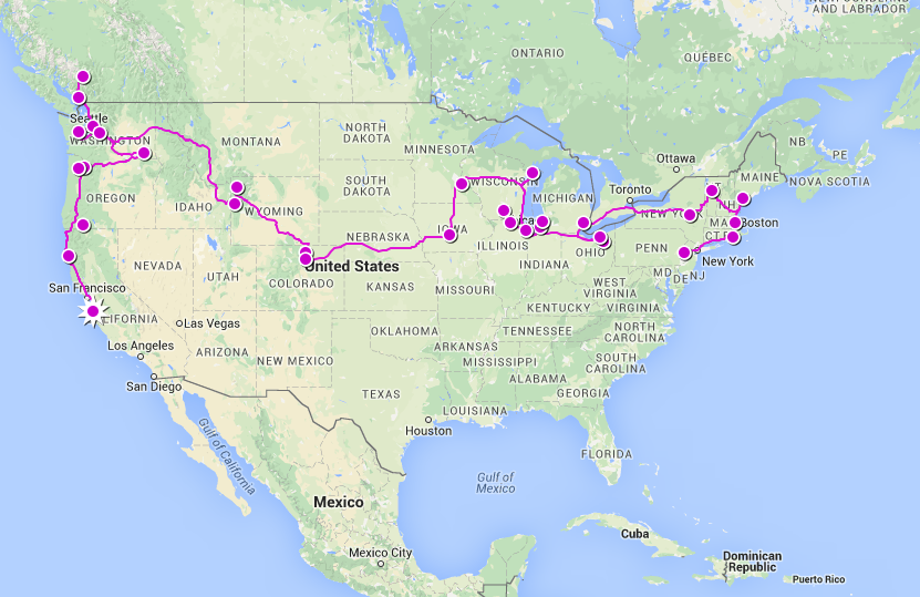 Tour route to date 9316 km / 5788 miles