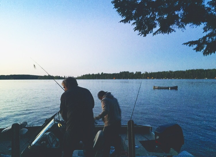 The Manser Men fishing on the Great Pond Belgrade Lakes, Maine