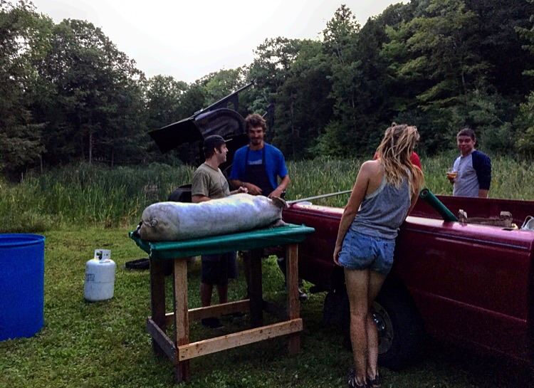 All Night Preparations for the Pig Roast at Oxbow Brewery, Newcastle, Maine