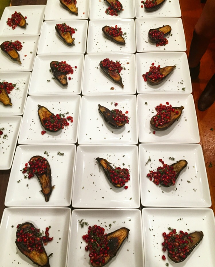 Roasted Eggplant with Pomegranate, Mint and Preserved Lemon// Boulder Creek, California