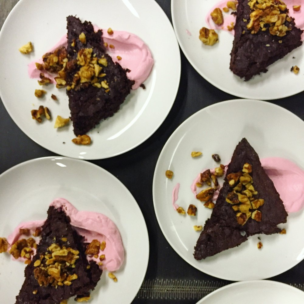 Blooming Glen Chocolate Beet Cake with Jonathan White's Creme Fraiche and Walnut Praline