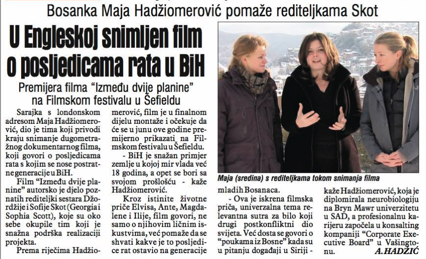 Our Film Featured in Bosnia's #1 Newspaper!