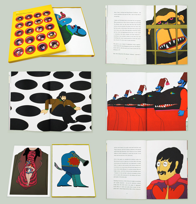 pantherclub :     Stunning print volume published by  50 by 70  celebrating the 50th Anniversary of the Beatles cult classic animated feature  Yellow Submarine . Bursting with reproductions of  Heinz Edelmanns  iconic and much replicated vision, the box set includes five 50 x 70cm screen prints and a 40 page book presented in a heavy weight embossed box wrapped with a 16 colour (!) print.