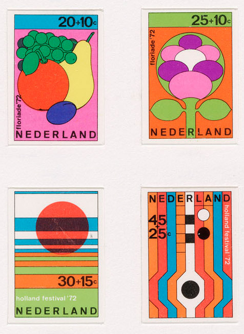 Test print for Dutch stamp designs (1972) by Dick Elffers