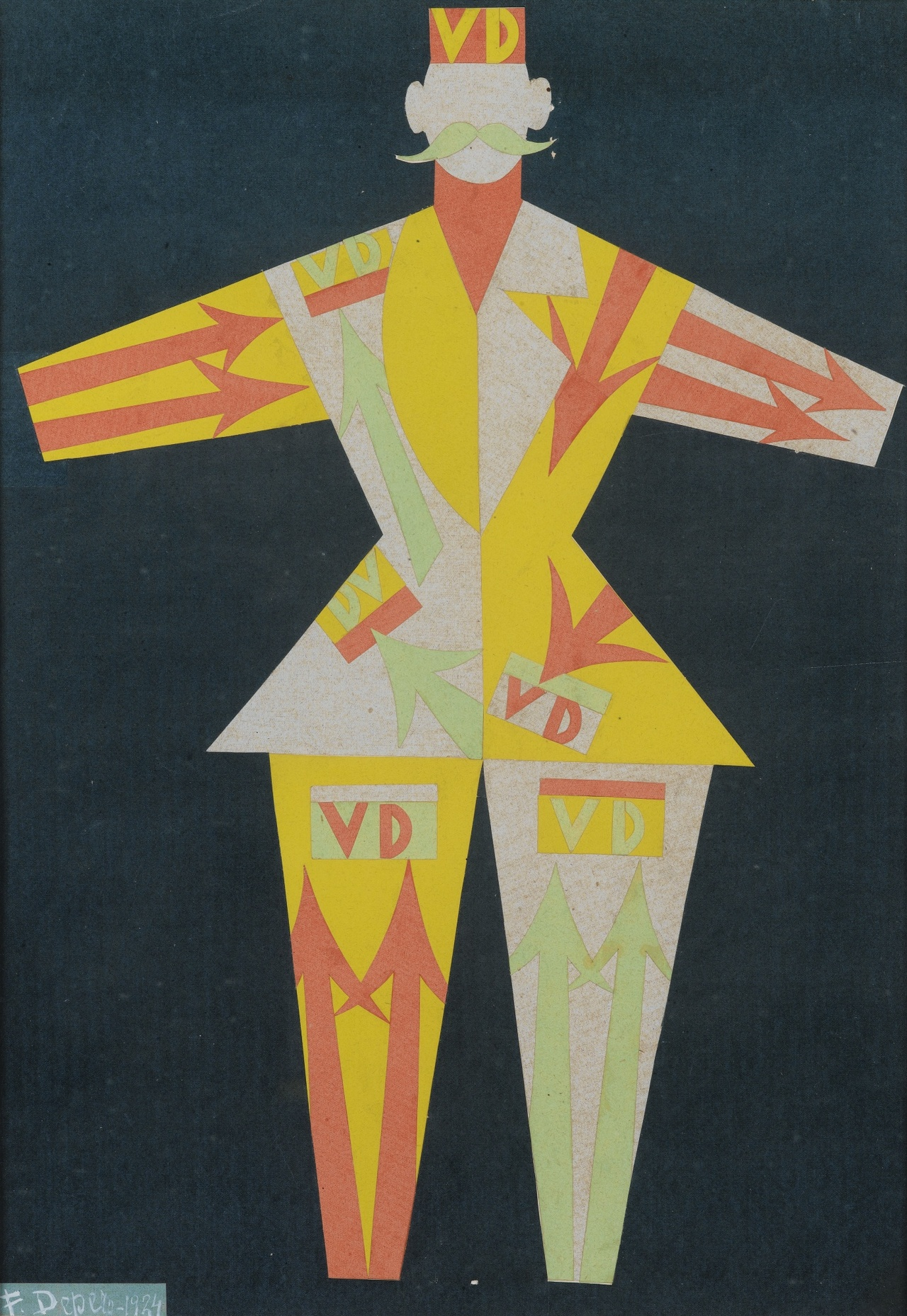 blastedheath :       Fortunato Depero (Italian, 1892-1960),  Costume per Verzocchi (vestito futurista) , 1924. Collage of coloured card, 50.7 x 35.3 cm.