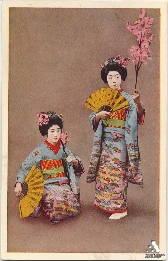 prettyshake :     Miyako Odori Maiko. Vintage postcard. Beautiful kimono