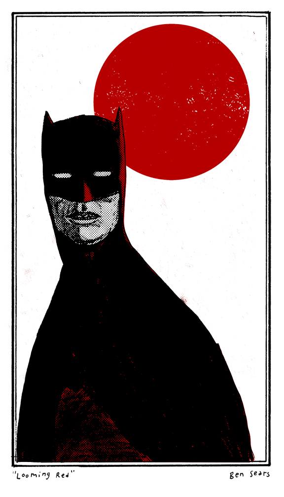 "bensears: ""Looming Red"" A variant illustration of a Batman drawing I finished today. Expect a different one soon."