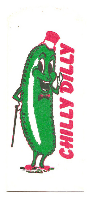 klappersacks :      Vintage Chilly Dilly Pickle Snack Bar Drive-In Wrapper  by  gregg_koenig  on Flickr.