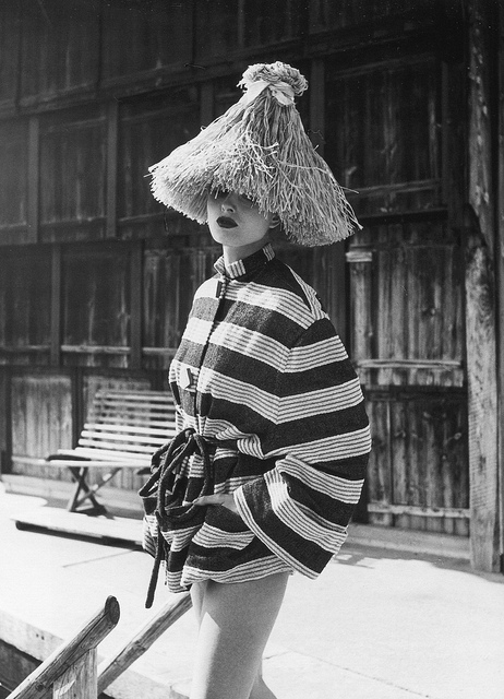 hoodoothatvoodoo: Actress Ingrid Mirbach in striped beach cover-up and straw hat, photo by Regina Relang on the island of Sylt, 1949