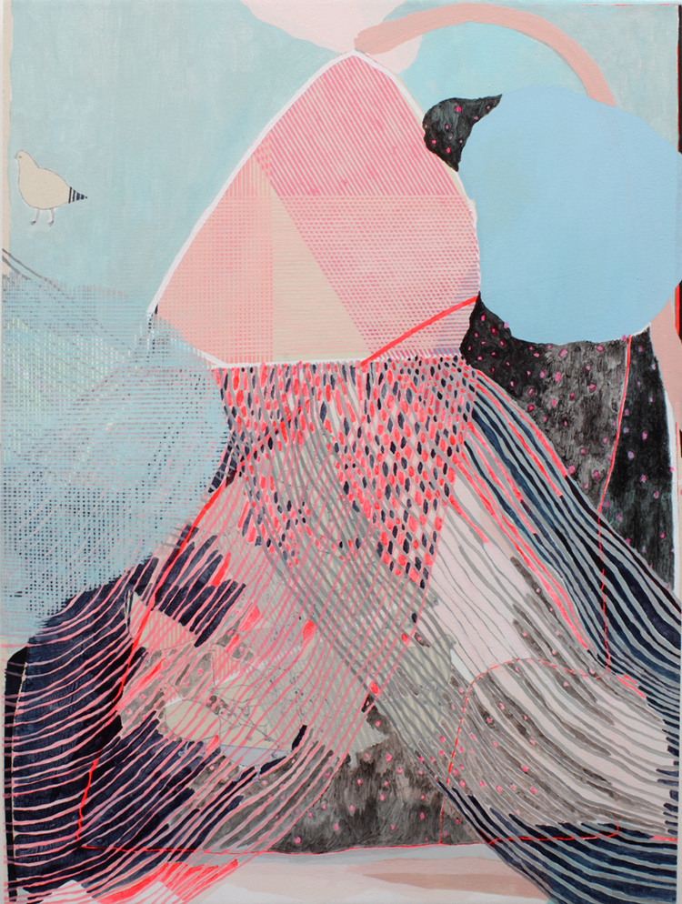 "tick-le: nanukiswink: Misato Suzuki Early Summer Rain, 2011  acrylic on canvas  48"" x 36"" (via imgTumble)"