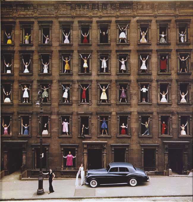 miriamsimard :      Girls in the Windows, 1960       Ormond Gigli  dreamed up this photo when he realized a brownstone across from his New York apartment was being demolished. He quickly organized 43 models in formal attire to pose in the windows and ended up with an iconic photo that perfectly captures 1960′s architecture, fashion and colour.