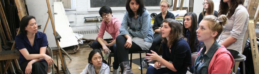 Clara Lieu (far left) holds a class at the Rhode Island School of Design (RISD).