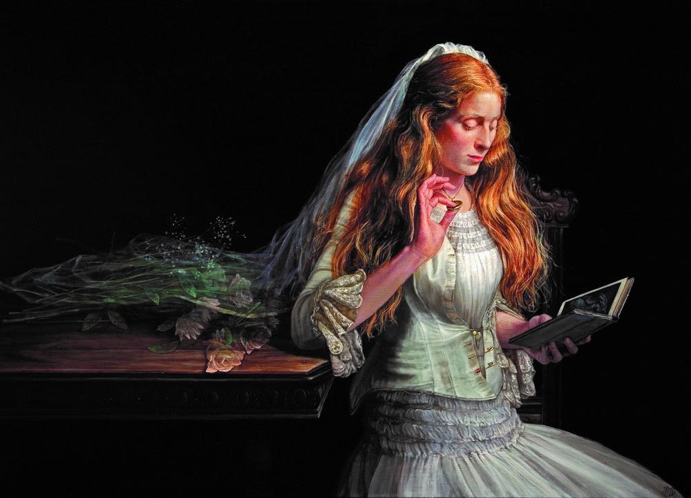 """""""Beatrice Reading Dante""""   Oil 36"""" x 50""""   Gabriela G Dellosso"""