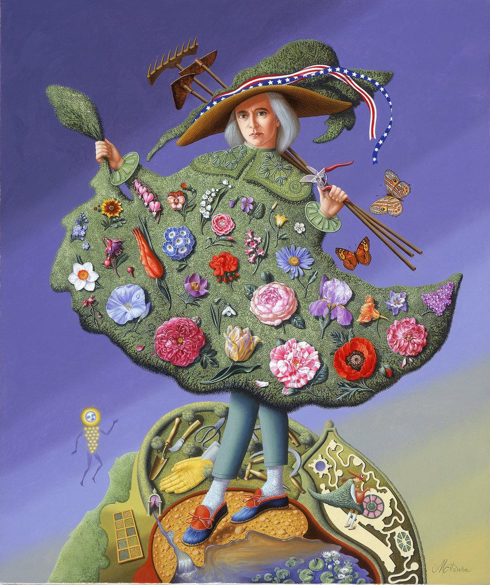 """""""American Gardener""""  Oil on linen 24"""" X 20""""   Mitzura Salgian"""