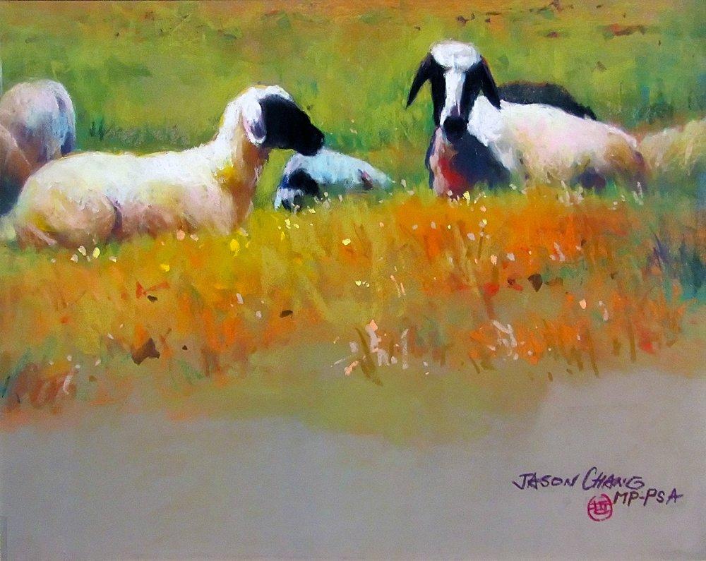 """Resting Sheep""   Pastel 16""x 20""   Jason Chang"