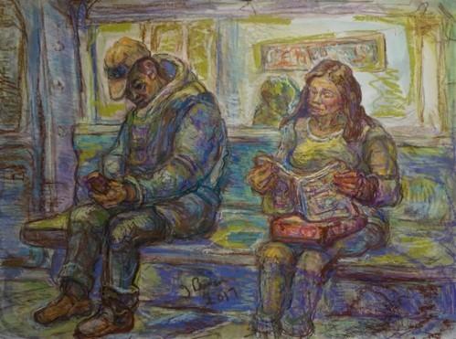 """""""Subway Riders""""  Mixed media 18"""" X 24""""   Jeffrey Berman"""
