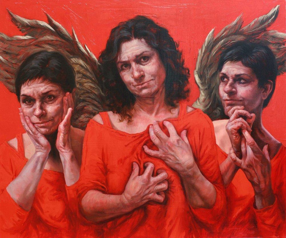 """Guardian Angel of the Good Death""  Oil on linen 30"" X 40""   Judy Takács"