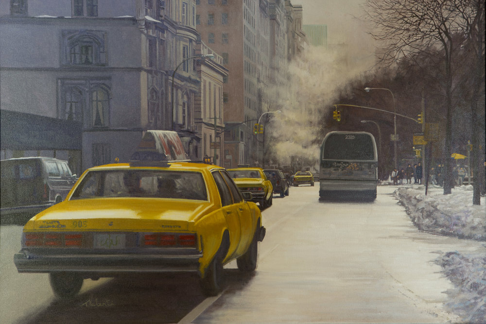 """""""Driving Past The Met""""  Oil on canvas 30"""" x 40""""   Thomas  Valenti"""
