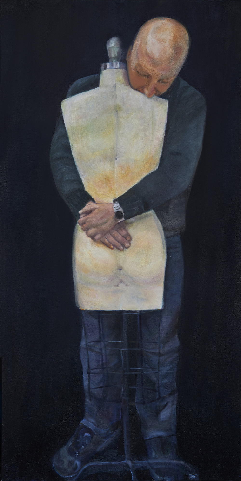 """""""S  he Sewed (No 2. Loving Losing Lost Series)""""  Oil on canvas 24"""" X 48""""   Elaine Clayman"""