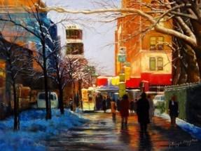 """Reflection – Chelsea New York City""  Pastel 19""X26""   Jenny Lin"